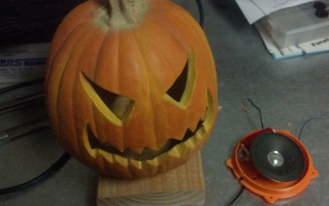 theres not enough room inside to really hold the control board and power supply so running the wires out the bottom lets us mount the pumpkin onto a - Halloween Wav Files