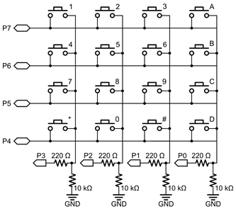 Schematic diagram for the 4x4 Keypad.