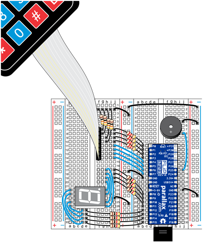 Wiring diagram for the 4x4 Keypad and 7-segment LED project in BlocklyProp.