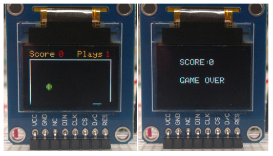 OLED displays showing the Capacitive Pong Game.