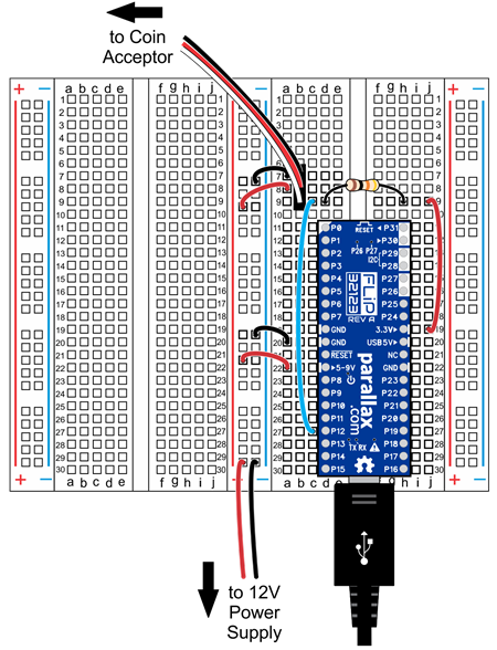 Wiring diagram for connecting the Coin Acceptor to a Propeller FLiP on a breadboard.