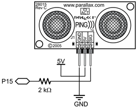 A schematic for connecting the Parallax PING))) Ultrasonic Distance Sensor to a Propeller board.