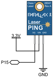 A schematic showing how to connect the Parallax Laser PING to your board.