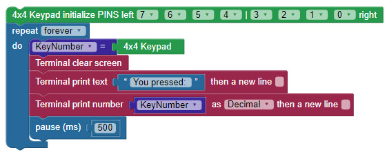 Quick code example for the 4x4 Keypad with BlocklyProp.