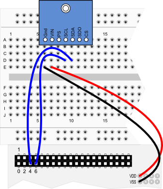 Altimeter Module wiring diagram for Propeller QuickStart board