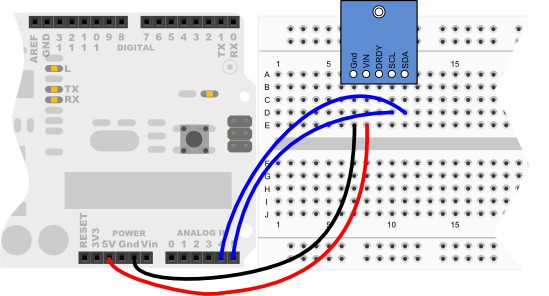 Compass Module wiring diagram for Arduino Uno