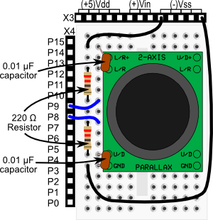 2-Axis Joystick wiring diagram for BASIC Stamp HomeWork Board