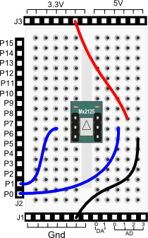 Memsic 2125 Dual-axis Accelerometer wiring diagram for Propeller BOE