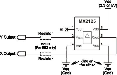 Memsic 2125 Dual-axis Accelerometer wiring diagram
