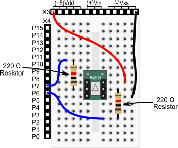 Memsic 2125 Dual-axis Accelerometer wiring diagram for BASIC Stamp HomeWork Board