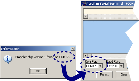 Matching the COM port in the Parallax Serial Terminal program