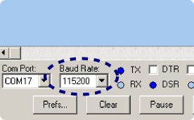Setting the baud rate in the Parallax Serial Terminal program