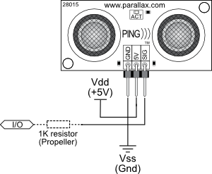 PING))) Sensor connection schematic to microcontroller I/O pin