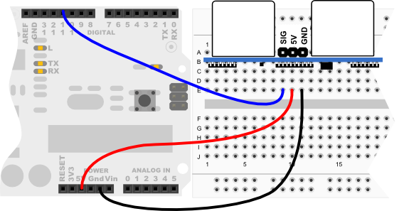 PING))) sensor wiring diagram for Arduino Uno