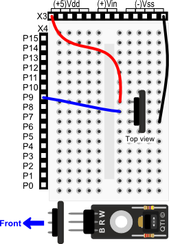 QTI Sensor wiring diagram for BASIC Stamp HomeWork Board