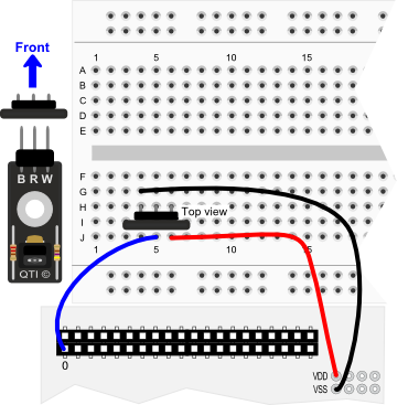 QTI Sensor wiring diagram for Propeller QuickStart board