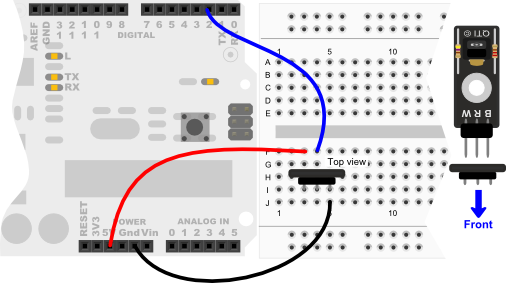 QTI Sensor wiring diagram for Arduino Uno