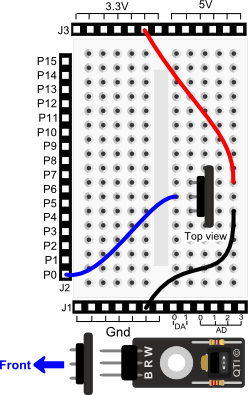 QTI Sensor wiring diagram for Propeller BOE