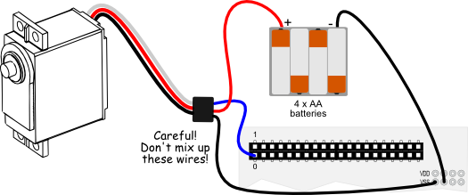 Parallax Standard Servo wiring diagram for Propeller QuickStart board