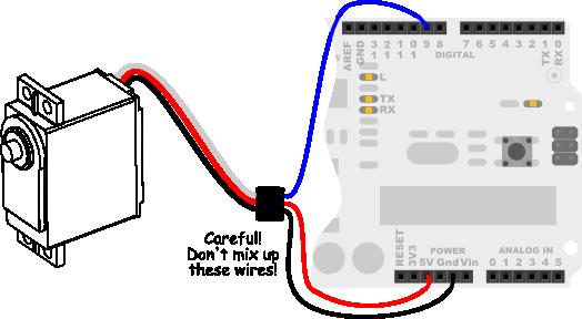 Parallax Standard Servo wiring diagram for Arduino Uno