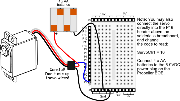 Continuous Rotation Servo wiring diagram for Propeller BOE