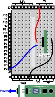 Sound Impact Sensor wiring diagram for Propeller BOE