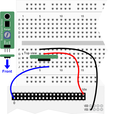 Sound Impact Sensor wiring diagram for Propeller QuickStart board