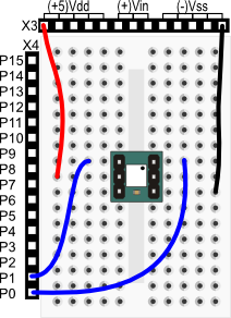 4-Directional Tilt Sensor wiring diagram for BASIC Stamp HomeWork Board