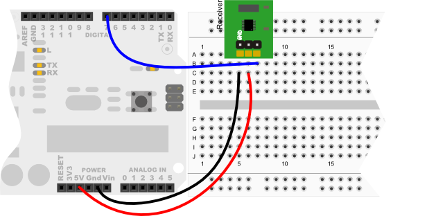 Polar Heart Rate Receiver wiring diagram for Arduino Uno