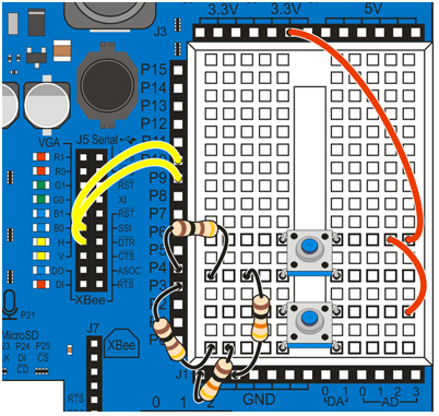 pushbutton circuit learn parallax com wiring diagram for two pushbuttons controlling two leds on the propeller board of education