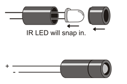 build the ir sensor circuits learn parallax com insert the ir led s leads into the standoff tube and out through the two holes at the bottom of the standoff