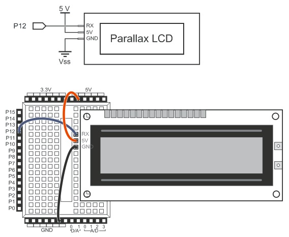 connect the serial lcd as shown in the schematic/wiring diagram