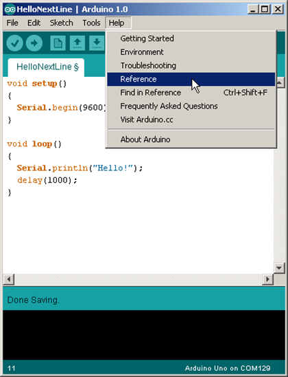 Opening the Arduino Help > Reference Menu