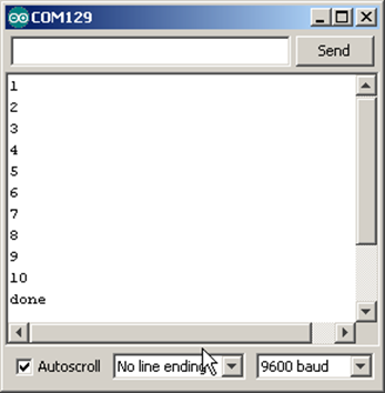 A FOR loop displays 1 through 10 in the Serial Monitor