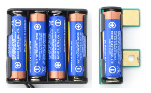 AA batteries in the 4-cell battery holder and Boe-Boost module, showing proper orientation