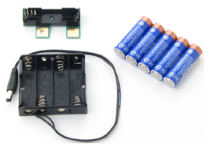 4-cell AA battery pack, Boe-Boost module, and 5 AA batteries