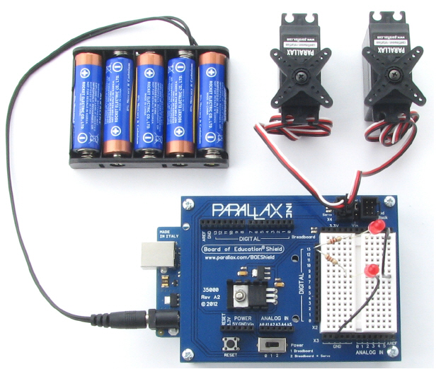 5-cell AA battery pack setup for the BOE Shield-Bot