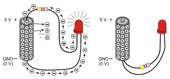 led test circuit learn parallax com diagram showing electrical connection leds and batteries