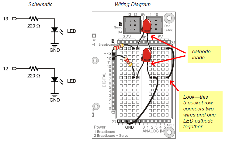 led test circuit learn parallax com schematic and wiring diagram of two led circuits built on the board of education shield breadboard