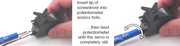 Insert a Phillips screwdriver into the access port on the continous rotation servo's case to adjust the potentiometer inside