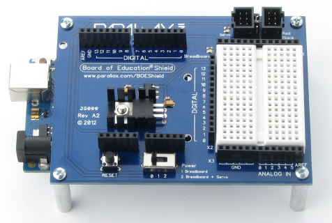 Board of Education Shield with Arduino module plugged in and tabletop standoffs installed