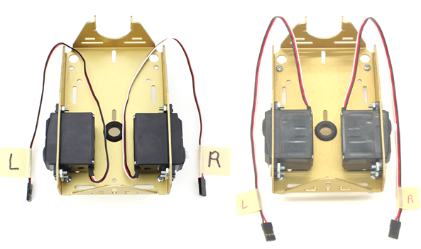 Two servo mounting options - from outside with ports facing forward, or inside with ports facing backward