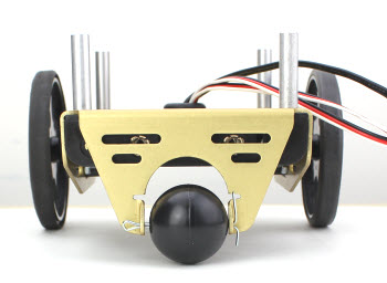 Tail wheel and drive wheels mounted on the chassis of the BOE Shield-Bot