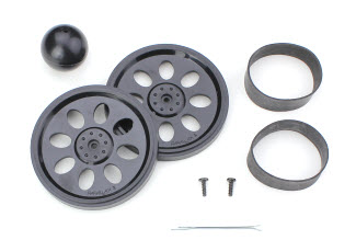 Drive and tail wheels, cotter pin, and rubber tires. Your wheel parts might look different from these.