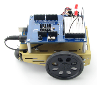 Assembled BOE Shield-Bot, a Board of Education Shield with Arduino module plugged in, mounted on a Boe-Bot chassis kit