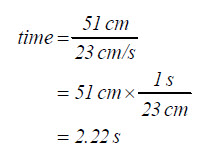 Equation: time equals 51 centimeters over 23 centimeters per second, which resolves to 2.22 seconds