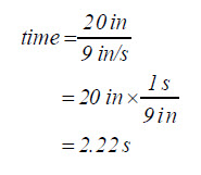 Equation: time equals 20 inches over nine inches per second, which resolves to 2.22 seconds