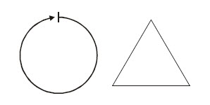 Diagram of a circle and an equilateral triangle, as courses the BOE Shield-Bot must drive on.