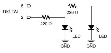 Circuit schematic to build two indicator LEDs for monitoring the whisker switch inputs on the BOE Shield-Bot