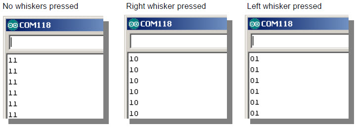 Serial Monitor screencaptures displaying output states when right, left, an no whisker is pressed